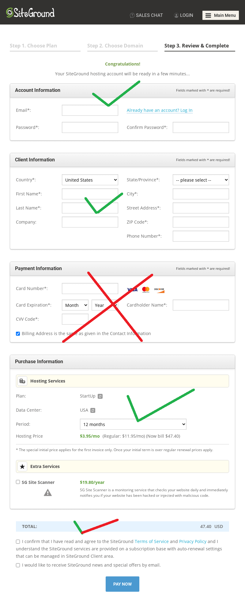 siteground pay with paypal