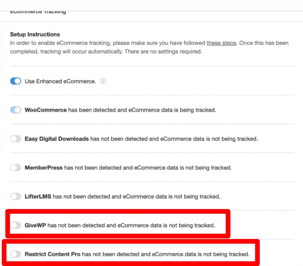 MonsterInsights eCommerce Tracking Addon Integration