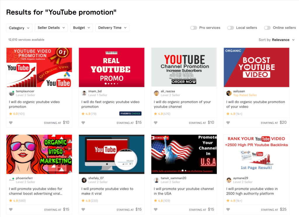 grow a YouTube channel with Fiverr in 2021